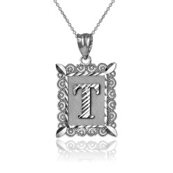 "Sterling Silver Filigree Alphabet Initial Letter ""T"" DC Pendant Necklace"