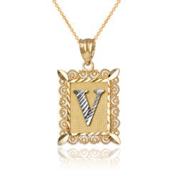 "Two-tone Gold Filigree Alphabet Initial Letter ""V"" DC Pendant Necklace"