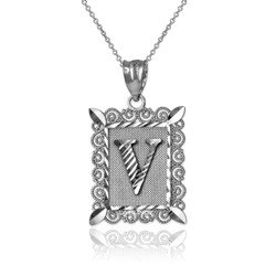 "White Gold Filigree Alphabet Initial Letter ""V"" DC Pendant Necklace"