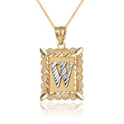 "Two-tone Gold Filigree Alphabet Initial Letter ""W"" DC Pendant Necklace"