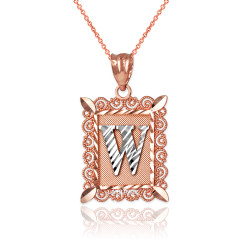 "Two-tone Rose Gold Filigree Alphabet Initial Letter ""W"" DC Pendant Necklace"