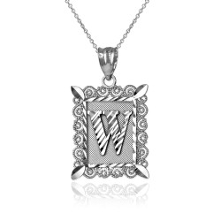 "White Gold Filigree Alphabet Initial Letter ""W"" DC Pendant Necklace"