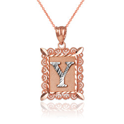 "Two-tone Rose Gold Filigree Alphabet Initial Letter ""Y"" DC Pendant Necklace"
