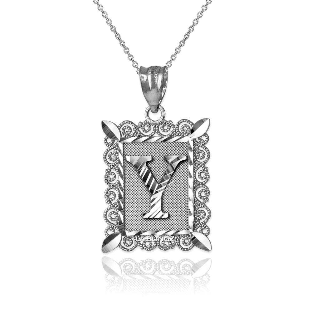 LA BLINGZ 10K White Gold Filigree Alphabet Initial Letter V DC Charm Necklace