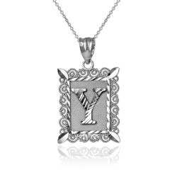 "White Gold Filigree Alphabet Initial Letter ""Y"" DC Pendant Necklace"