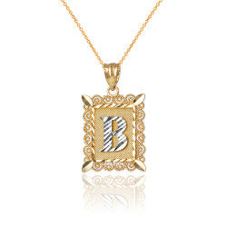 "Two-tone Gold Filigree Alphabet Initial Letter ""B"" DC Charm Necklace"