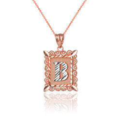 "Two-tone Rose Gold Filigree Alphabet Initial Letter ""B"" DC Charm Necklace"