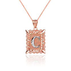 "Two-tone Rose Gold Filigree Alphabet Initial Letter ""C"" DC Charm Necklace"