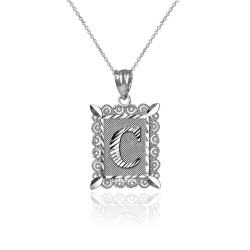 "White Gold Filigree Alphabet Initial Letter ""C"" DC Charm Necklace"