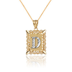 "Two-tone Gold Filigree Alphabet Initial Letter ""D"" DC Charm Necklace"