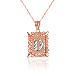"Two-tone Rose Gold Filigree Alphabet Initial Letter ""D"" DC Charm Necklace"
