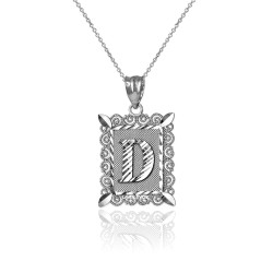 "White Gold Filigree Alphabet Initial Letter ""D"" DC Charm Necklace"