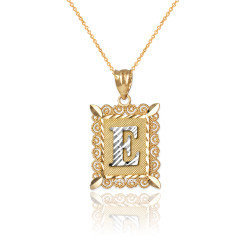 "Two-tone Gold Filigree Alphabet Initial Letter ""E"" DC Charm Necklace"