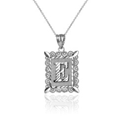 "Sterling Silver Filigree Alphabet Initial Letter ""E"" DC Charm Necklace"
