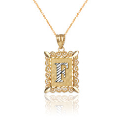 """Two-tone Gold Filigree Alphabet Initial Letter """"F"""" DC Charm Necklace"""