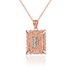 "Two-tone Rose Gold Filigree Alphabet Initial Letter ""F"" DC Charm Necklace"
