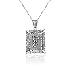 "White Gold Filigree Alphabet Initial Letter ""F"" DC Charm Necklace"