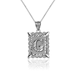 "Sterling Silver Filigree Alphabet Initial Letter ""G"" DC Charm Necklace"