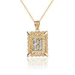 """Two-tone Gold Filigree Alphabet Initial Letter """"H"""" DC Charm Necklace"""