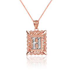 "Two-tone Rose Gold Filigree Alphabet Initial Letter ""H"" DC Charm Necklace"