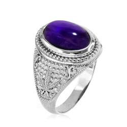 Sterling Silver Marijuana Weed Purple Amethyst February Birthstone Ring