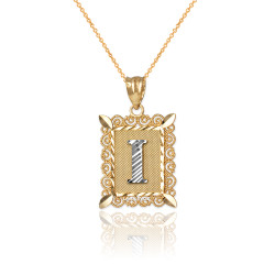 "Two-tone Gold Filigree Alphabet Initial Letter ""I"" DC Charm Necklace"