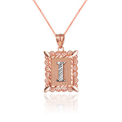 "Two-tone Rose Gold Filigree Alphabet Initial Letter ""I"" DC Charm Necklace"