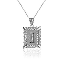 "Sterling Silver Filigree Alphabet Initial Letter ""I"" DC Charm Necklace"