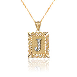 "Two-tone Gold Filigree Alphabet Initial Letter ""J"" DC Charm Necklace"
