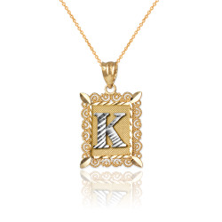 "Two-tone Gold Filigree Alphabet Initial Letter ""K"" DC Charm Necklace"