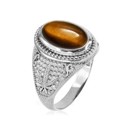 Sterling Silver Marijuana Weed Tiger Eye Gemstone Statement Ring