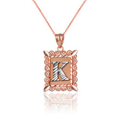 "Two-tone Rose Gold Filigree Alphabet Initial Letter ""K"" DC Charm Necklace"