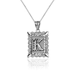 "Sterling Silver Filigree Alphabet Initial Letter ""K"" DC Charm Necklace"