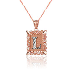 "Two-tone Rose Gold Filigree Alphabet Initial Letter ""L"" DC Charm Necklace"