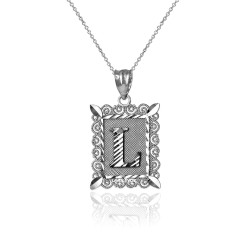 "White Gold Filigree Alphabet Initial Letter ""L"" DC Charm Necklace"