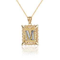 """Two-tone Gold Filigree Alphabet Initial Letter """"M"""" DC Charm Necklace"""
