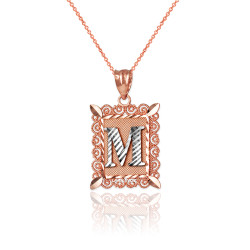 "Two-tone Rose Gold Filigree Alphabet Initial Letter ""M"" DC Charm Necklace"
