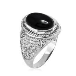 Sterling Silver Marijuana Weed Black Onyx Cabochon Statement Ring