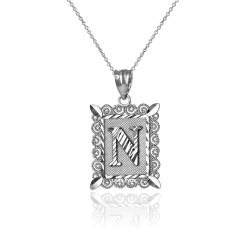 "Sterling Silver Filigree Alphabet Initial Letter ""N"" DC Charm Necklace"