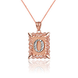 "Two-tone Rose Gold Filigree Alphabet Initial Letter ""O"" DC Charm Necklace"