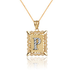 """Two-tone Gold Filigree Alphabet Initial Letter """"P"""" DC Charm Necklace"""