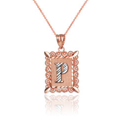 "Two-tone Rose Gold Filigree Alphabet Initial Letter ""P"" DC Charm Necklace"