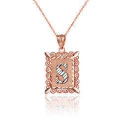 "Two-tone Rose Gold Filigree Alphabet Initial Letter ""S"" DC Charm Necklace"