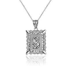 "Sterling Silver Filigree Alphabet Initial Letter ""S"" DC Charm Necklace"