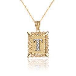 "Two-tone Gold Filigree Alphabet Initial Letter ""T"" DC Charm Necklace"