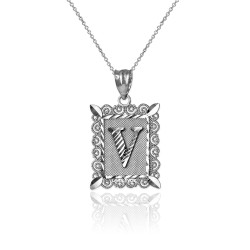 "Sterling Silver Filigree Alphabet Initial Letter ""V"" DC Charm Necklace"