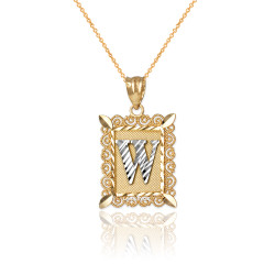 "Two-tone Gold Filigree Alphabet Initial Letter ""W"" DC Charm Necklace"