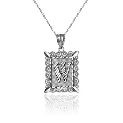 "White Gold Filigree Alphabet Initial Letter ""W"" DC Charm Necklace"