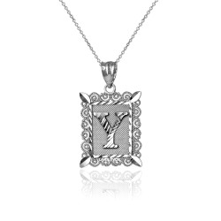 "White Gold Filigree Alphabet Initial Letter ""Y"" DC Charm Necklace"