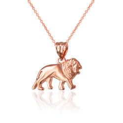 Rose Gold Tiny Lion Charm Necklace